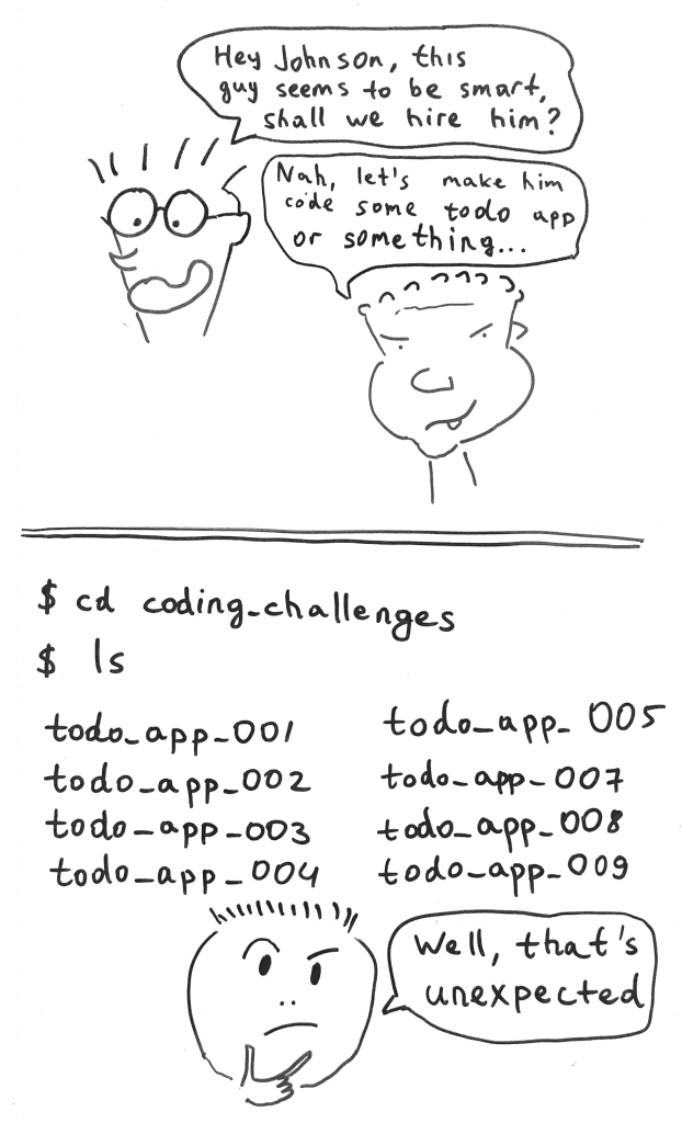 A cartoon about typical JS coding challenges